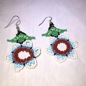 Tribal Designs Brown & White Earrings